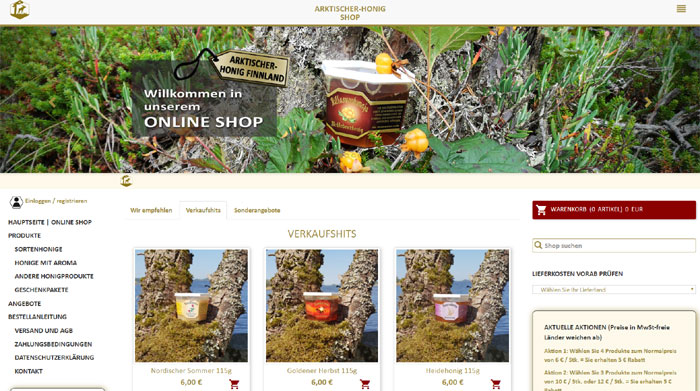 You can order delicious Nordic honey in our online shop around the clock