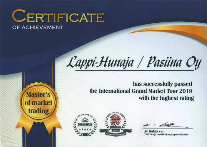 Certificate of Achievement International Grandmarket 2019