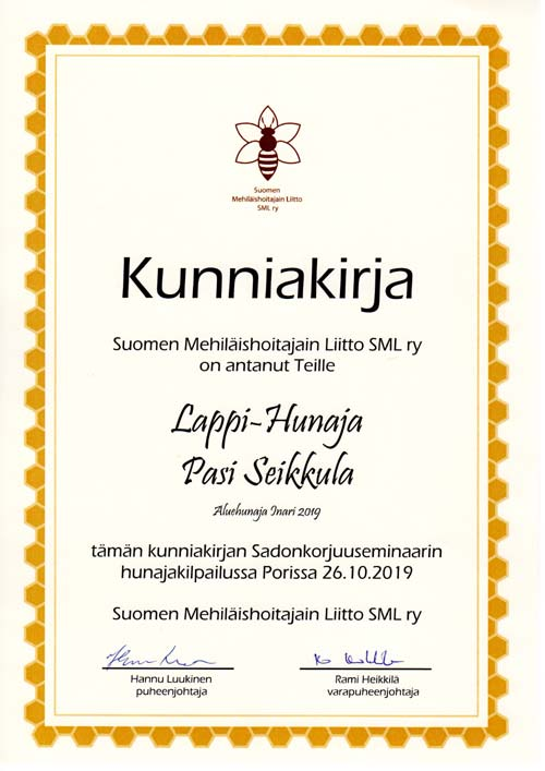 Certificate of quality Inari 2019 SML r.y. 2019