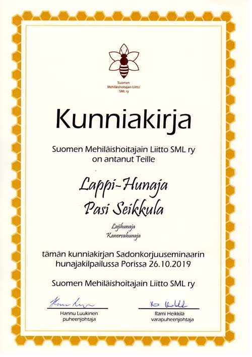 Certificate of quality Heather Honey SML r.y. 2019