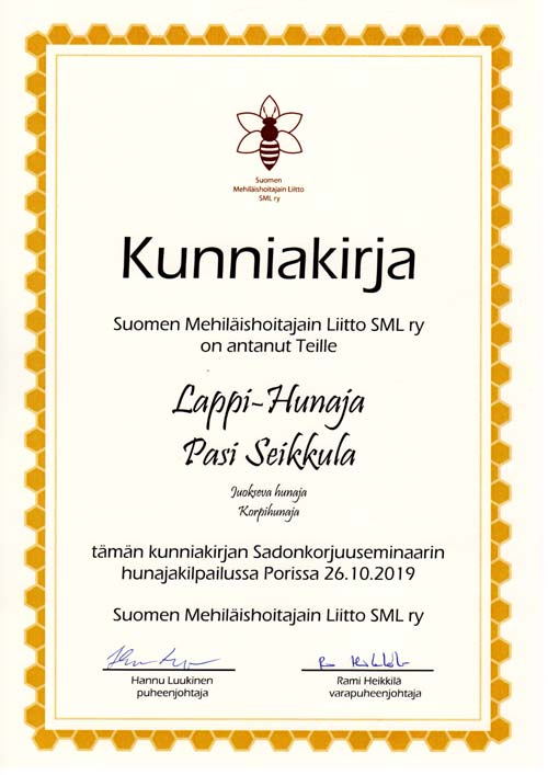 Certificate of quality Arctic Honey SML r.y. 2019