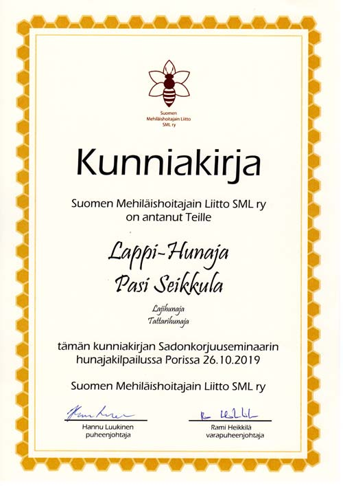 Certificate of quality Buckwheat Honey SML r.y. 2019